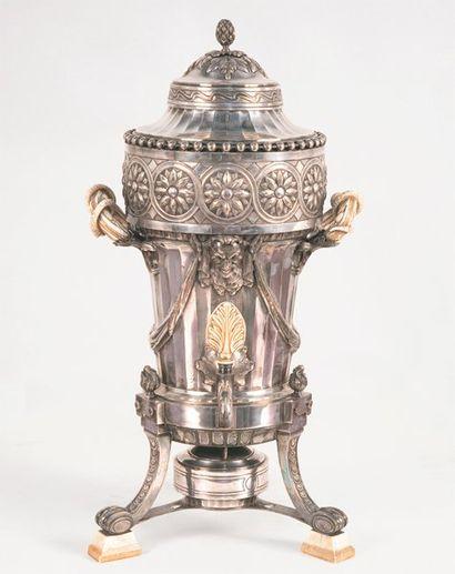 Fontaine à thé en métal argenté à fût cannelé...