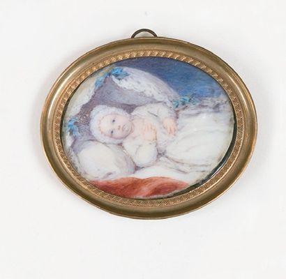 Miniature ovale d'enfant sur ivoire, dans...