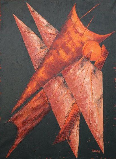 BANAS Virginie (Née en 1975) Les ailes de l'ange Technique mixte sur toile. Signée...