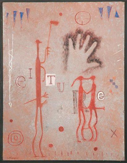 CHIARABINI Didier Le baiser Technique mixte. Signée en bas à droite. 85 x 63 cm....