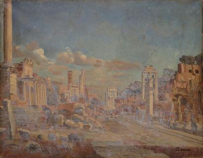 CERIA EDMOND, 1884-1955 Le forum romain huile sur toile (vernis chancis), cachet...