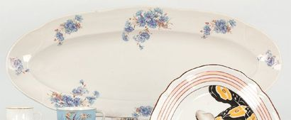RUSSIE, manufacture de porcelaine Grouzino Plat à poisson, 1900. Décor de semis...