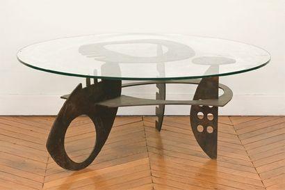 Table basse de salon, piétement en acier...