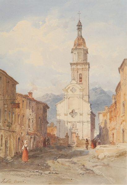 Place de village et église Aquarelle, signée...