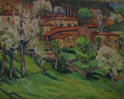 CÉRIA Edmond, 1884-1955 Village aux toits rouges huile sur toile (manques sur les...