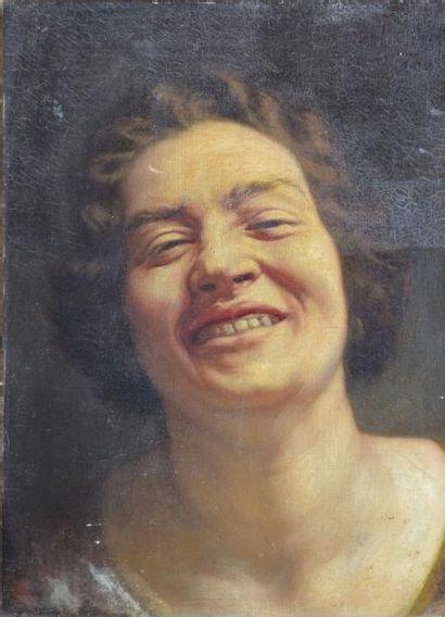 DE MAERTELAERE Alf. (?) Femme rieuse Huile sur toile marouflée sur panneau (craquelures,...