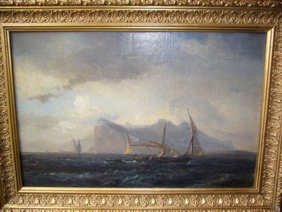 GUDIN Baron Théodore (1802-1880) Voilier par fort vent, 1849, huile sur toile rentoilée...