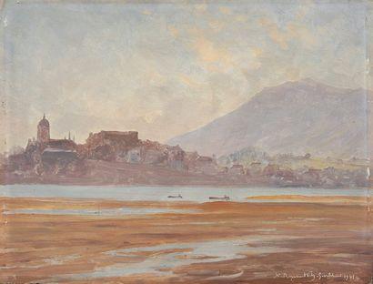 Ville et rivage à marée basse, 1931 Huile...
