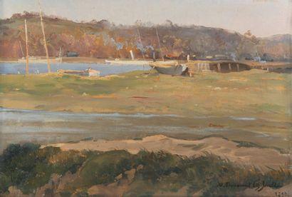 Bateaux dans un paysage, 1894 Huile sur panneau,...