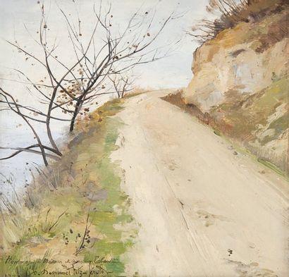 Chemin tournant et arbustes, 1887 Huile sur...