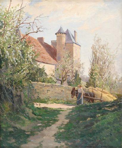 Château en Dordogne Huile sur panneau, signé...