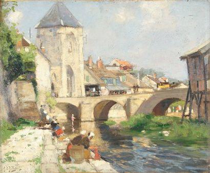 Eugène Louis GILLOT Lavandières à Morêt sur Loing Huile sur carton, signé en bas...
