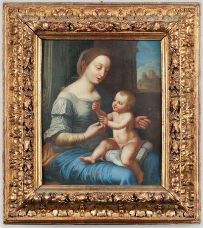 RAPHAEL Sanzio (D'après) (1483 -1520) Vierge à l'Enfant, dit aussi la Madone aux...
