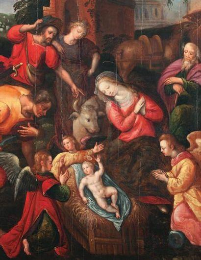 École FLAMANDE - Seconde moitié du XVIe siècle L'Adoration des Bergers Huile sur...