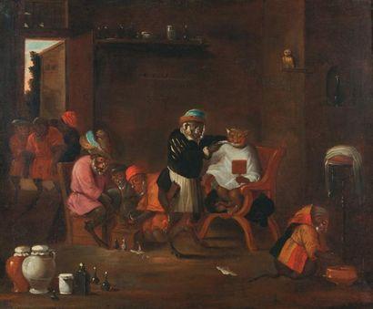 TENIERS David, dit le Jeune (École de) (1610 -1690) Le singe barbier et le singe...