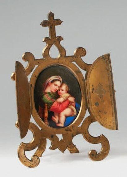 Vierge à l'Enfant peinte sur porcelaine de...