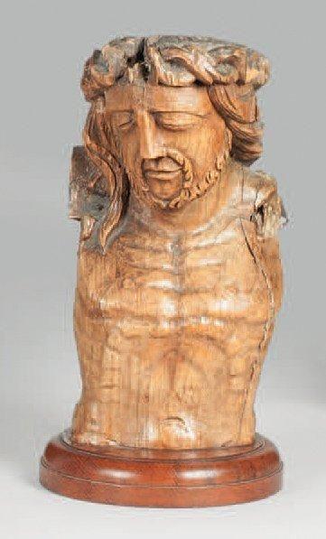 Buste de Christ en chêne sculpté du XVIIe...