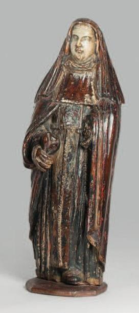 Saint Hildegarde en bois sculpté polychrome....