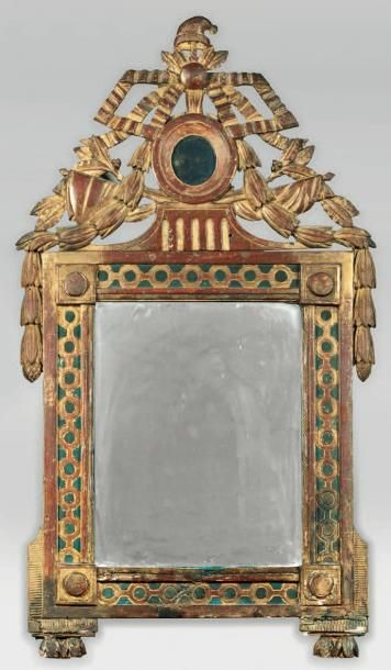 Miroir révolutionnaire en bois sculpté polychrome...