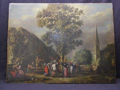 École HOLLANDAISE du XVIIIe siècle La ronde autour de l'arbre de mai Huile sur toile....