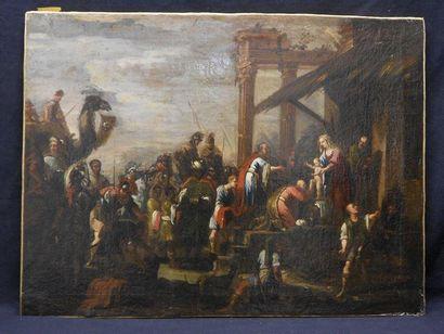 Ecole Italienne du XVIIIe siècle L'Adoration des Rois Mages Huile sur toile. (quelques...