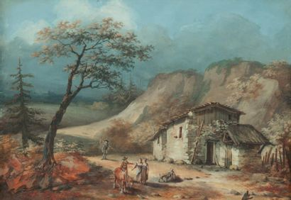 École FRANÇAISE - Fin du XVIIIe siècle Paysan et villageois en chemin Gouache. Haut.:...