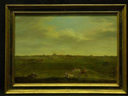 École HOLLANDAISE - Première moitié du XIXe siècle Paysage de campagne à la lisière...
