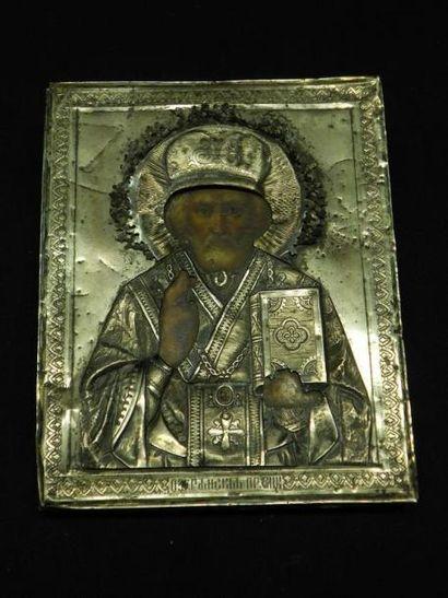 Saint-Nicolas Icône avec oklad en argent....