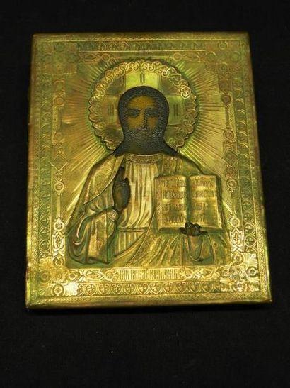 Christ Pantocrator Peint sur bois, oklad...