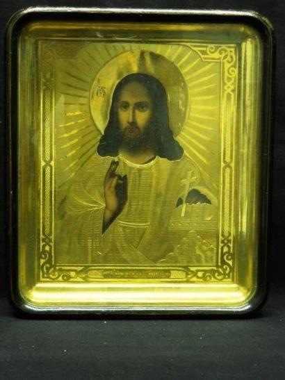 Christ Pantocrator Icône dans sa kiot. Russie,...