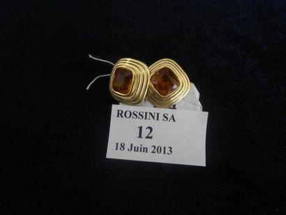 Paire de clips d'oreilles en or jaune, sertis...