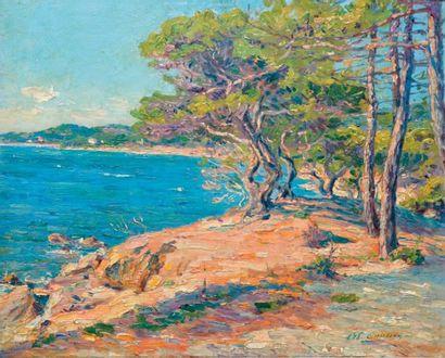 GAUSSEN Adolphe, 1871-1954 Pins au bord de mer Huile sur panneau, signé en bas à...