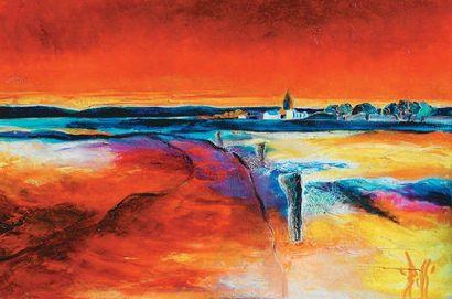 BOSS, né en 1960 Spiriway Huile sur toile, signée en bas à droite, 40 x 60 cm