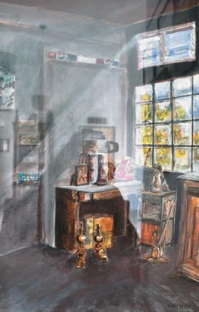 CAUVIN Stéphane, né en 1962 L'antiquaire Huile sur toile, signée en bas à droite,...