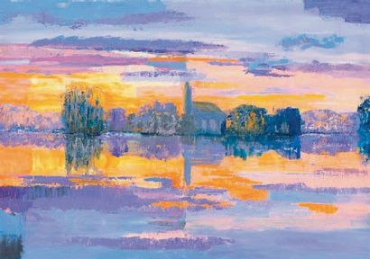CHOUFOER Mercedes, née en 1953 Winter Reflections Acrylique sur toile, signée en...