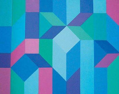 COLARD Inès, née en 1933 Jeux de construction 1 Acrylique sur toile, signée au dos,...