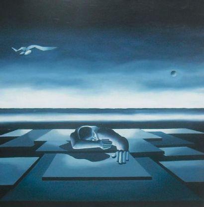 COLOMBIN Michel, né en 1953 Mir Huile sur toile, signée en bas à droite, 100 x 100...