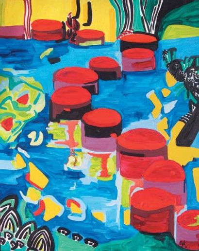 CYB, née en 1967 Kyoto oméga Huile sur toile, signée en bas à droite, 100 x 81 c...
