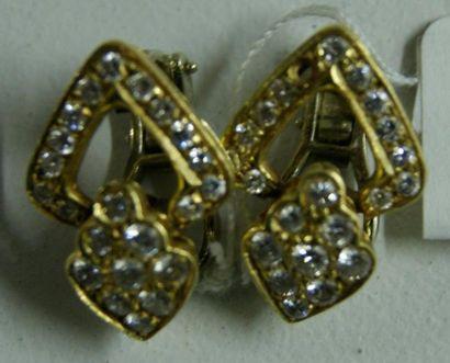 Paire de clips d'oreillles en or jaune ajouré,...