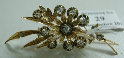 Broche fleurs en alliage d'or jaune 14 K,...
