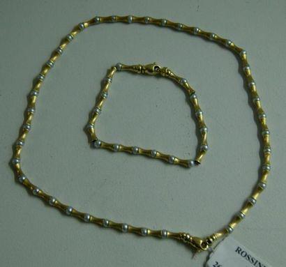 Collier et bracelet articulés en or jaune,...