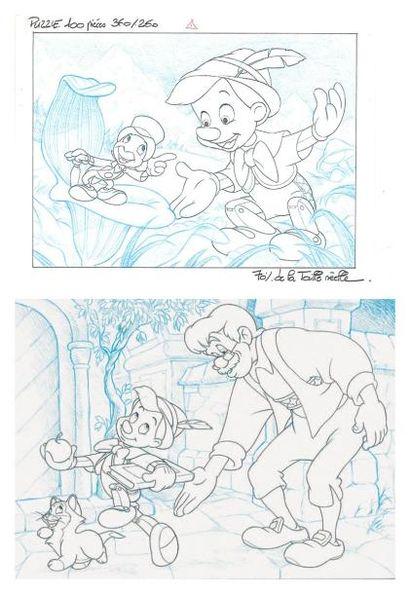 PINOCCHIO Ensemble de deux dessins à la mine...