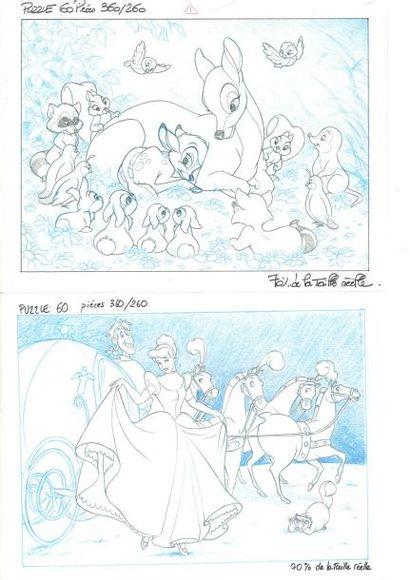 BAMBI et CENDRILLON Ensemble de deux dessins...