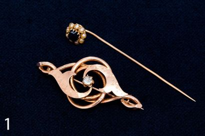 Epingle de cravate et broche en or et pierres...
