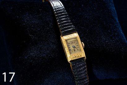 Montre bracelet de dame, boitier rectangulaire...