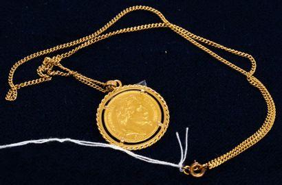 Chaine en or jaune et son pendentif sertie...