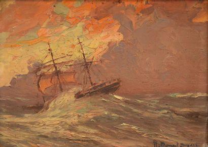 Robert DUMONT-DUPARC Navire rencontré depuis le bord du Ville de la Ciotat dans le...