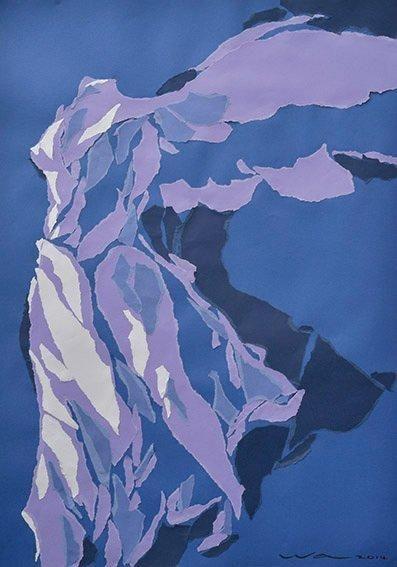 WONG WA Samothrace Collage signée en bas à droite datée 14, 110 x 75 cm