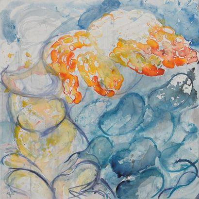 COLLOT MILLAS Delphine Victoire Acrylique et encre sur toile, 100 x 100 cm