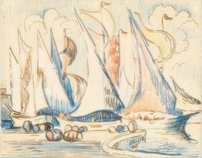 Paul SIGNAC Voiliers à quai Plume, encre brune et crayons de couleurs (traces de...